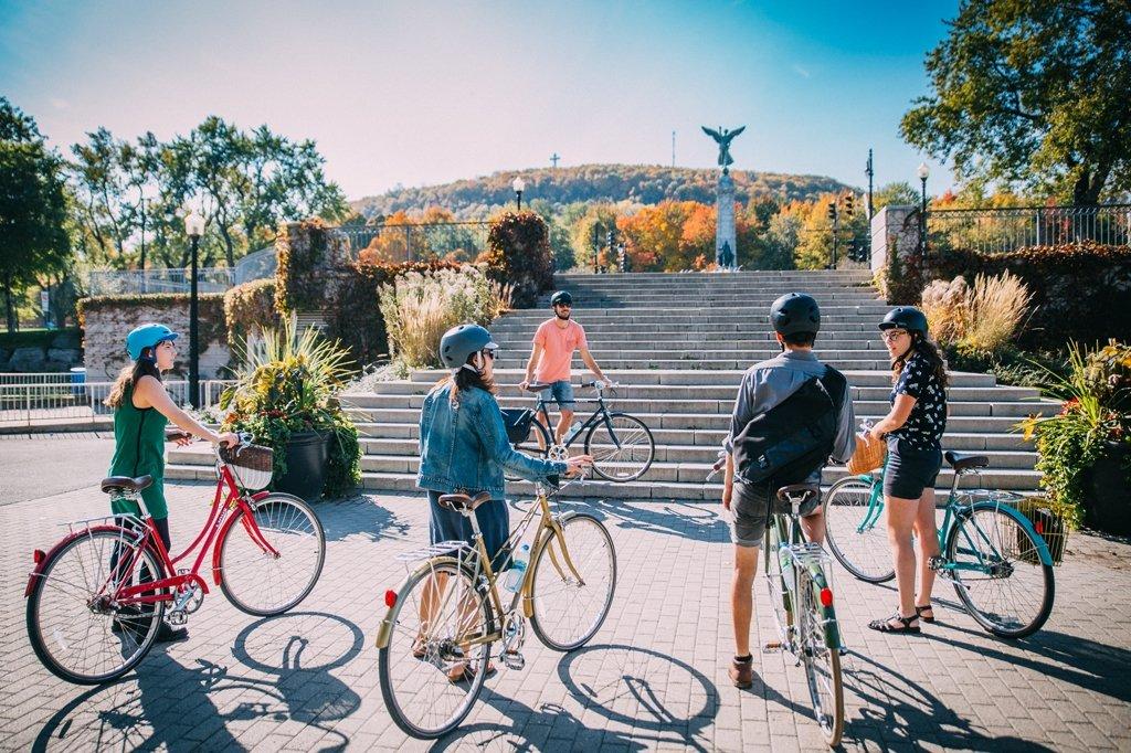 People biking in Montreal.