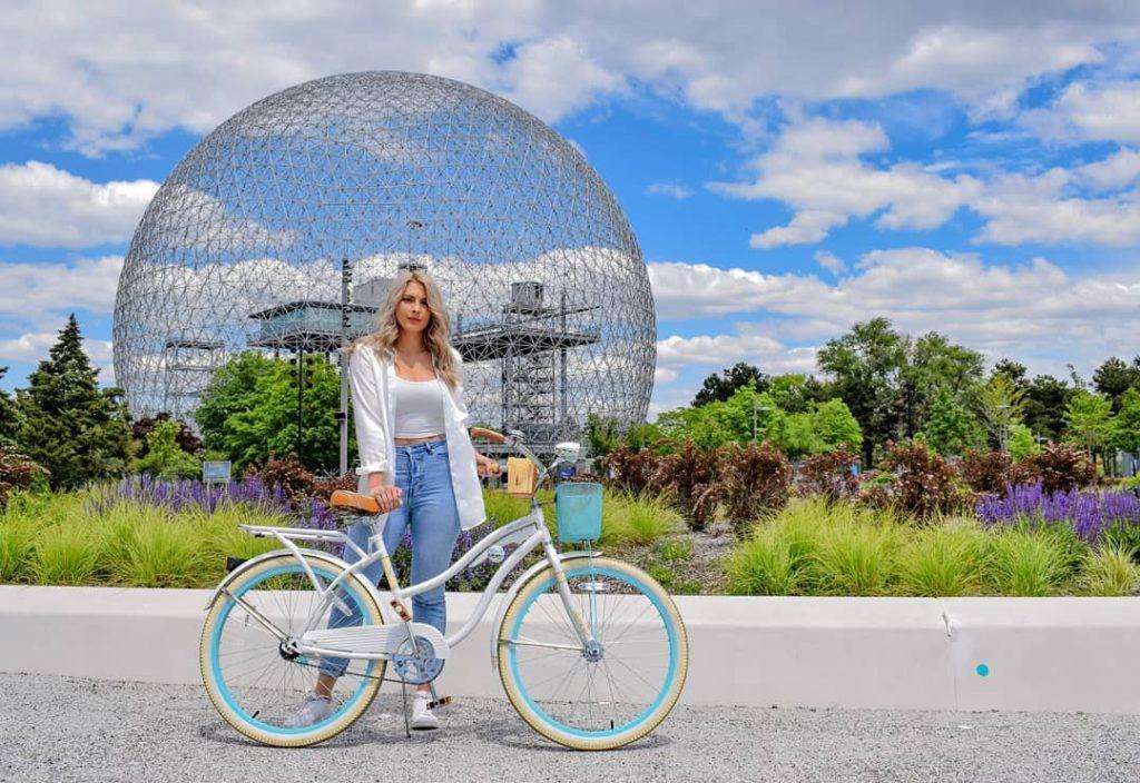 Biking in Parc Jean-Drapeau.