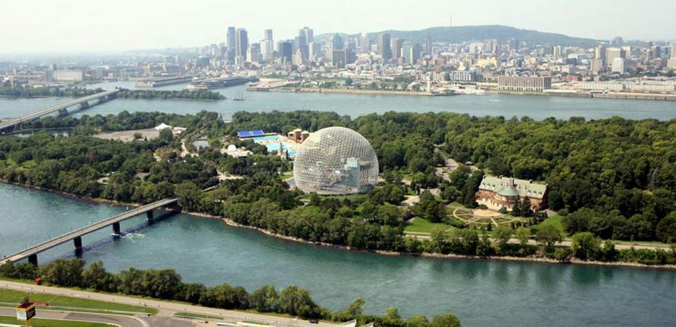 Aerial view of Parc Jean-Drapeau in Montreal.