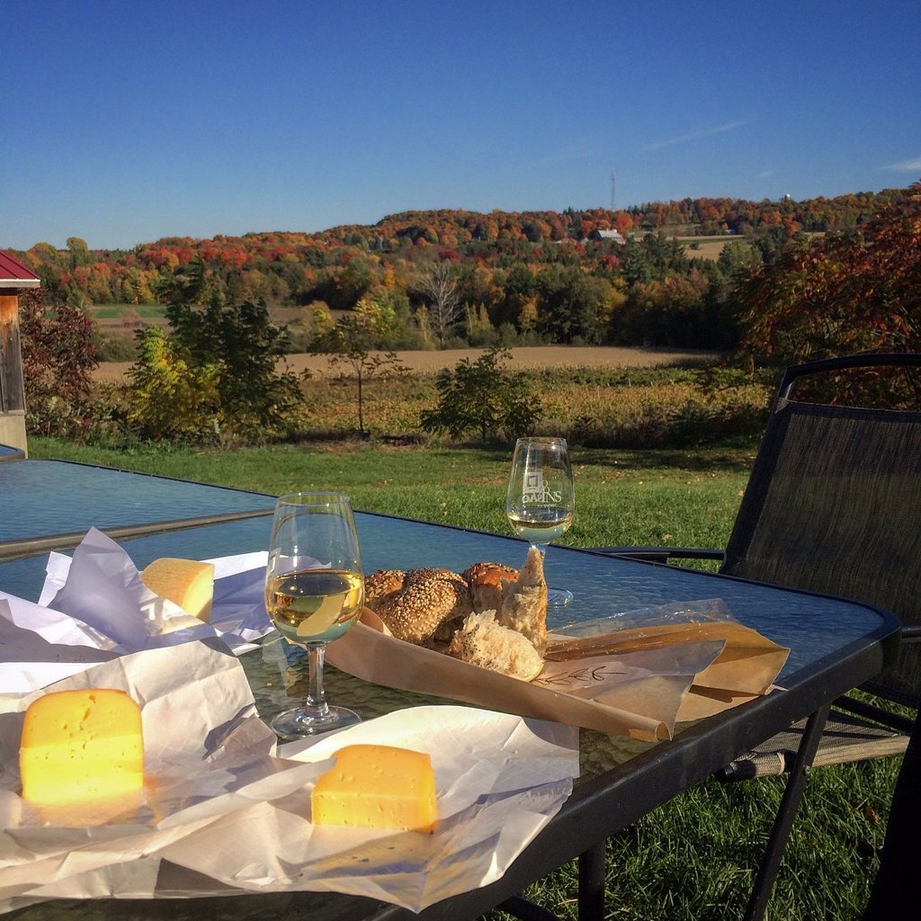 Wine and cheese at Les Trois Clochers in the fall near Montreal.