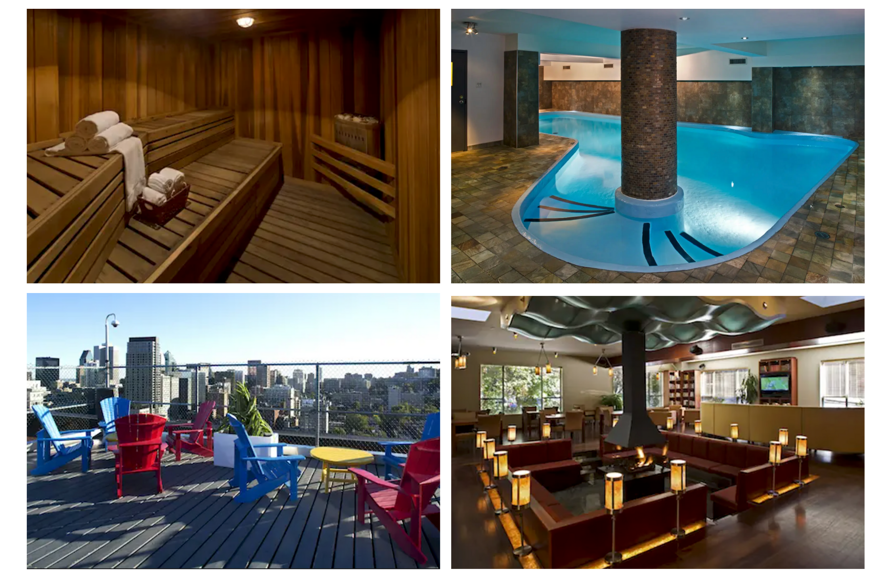 Just a few of things available to you at Hotel Trylon, swimming pool, sauna, rooftop terrace, Thalia lounge