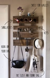 Entranceway shelves and hooks - organizing small spaces